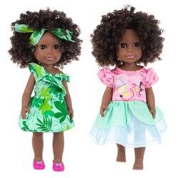 35cm realistyczne Reborn czarne lalki dla dzieci zabawki noworodka nadwozie winylowe loki sukienka afroamerykanin urocza lalka dzieci zabawki dla dziewczyn Pop prezent