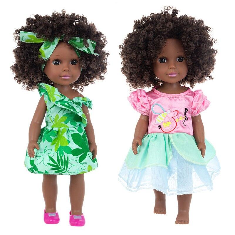 Poupées bébé noir réaliste 35cm, jouets nouveau-né en vinyle, robe à boucles, mignon afro-américain, jouet pour enfants, cadeau Pop pour filles