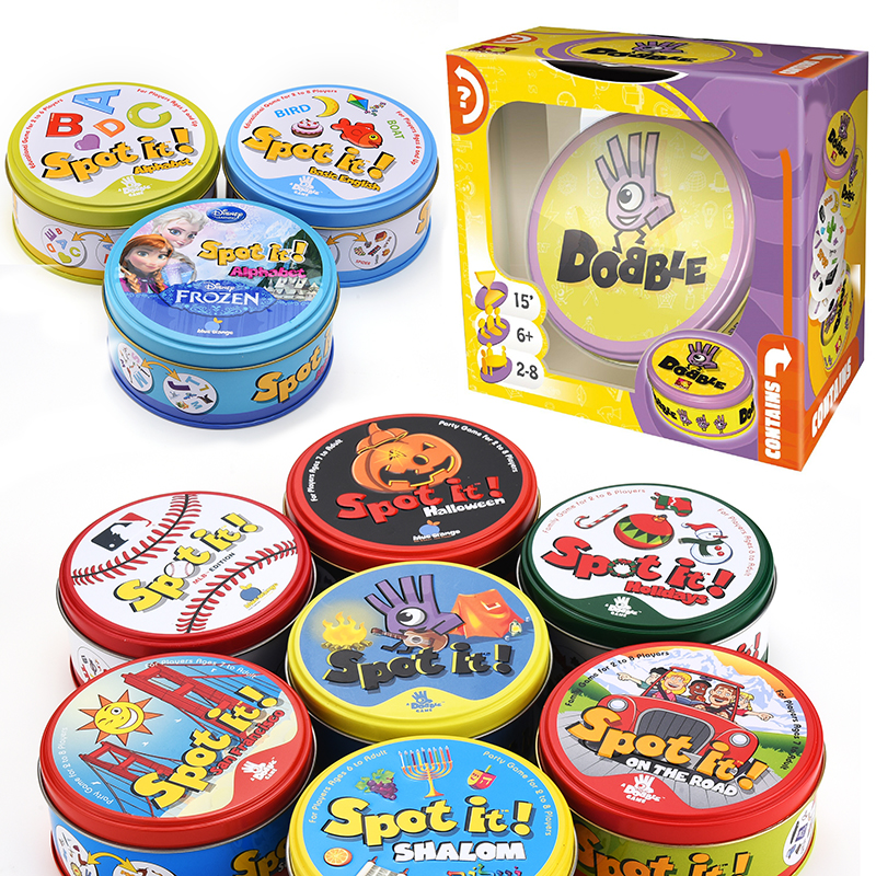 Halloween Dobbles Spot Cards It Hip 17 English Version On Road Board Game High Quality Original Edition Animals Metal Tin Box