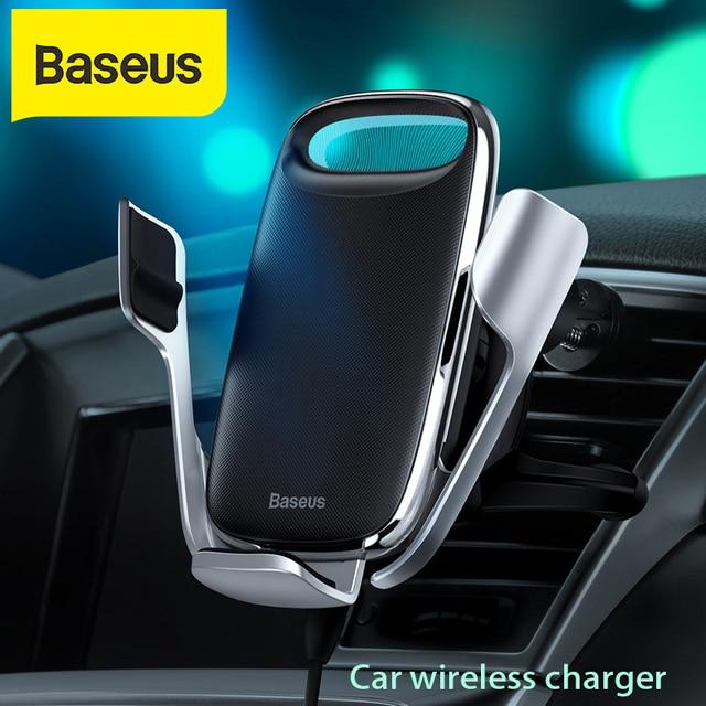Baseus qi 무선충전기 핸드폰거치대 충전기 아이폰 11 프로 xs 최대 삼성 s10 지능형 적외선 핸드폰 거치대 빠른 무선 충전 자동차 전화 홀더 무선충전패드