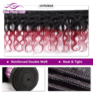 Image 2 - Soft Feel Hair 1/3/4Pcs Ombre Brazilian Body Wave Bundles 1B/Burgundy Ombre Hair Bundles Weave 99J Red Remy Human Hair Extension