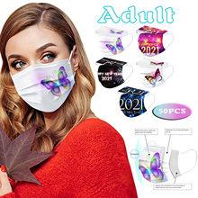 50 pcs adulto natal floco de neve impresso máscara protetora descartável máscaras faciais respirável mondmasker cubre bocas laváveis