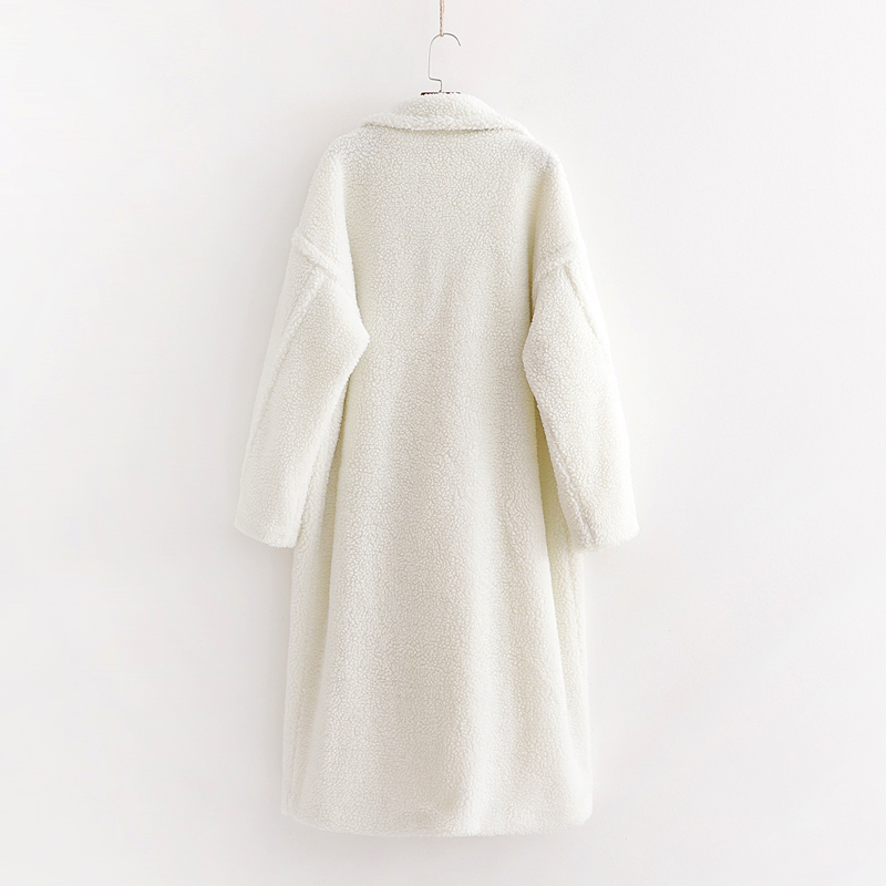 za 2019 winter coat women Casual Loose Solid Long Teddy Coat Female Vintage Plus Size white