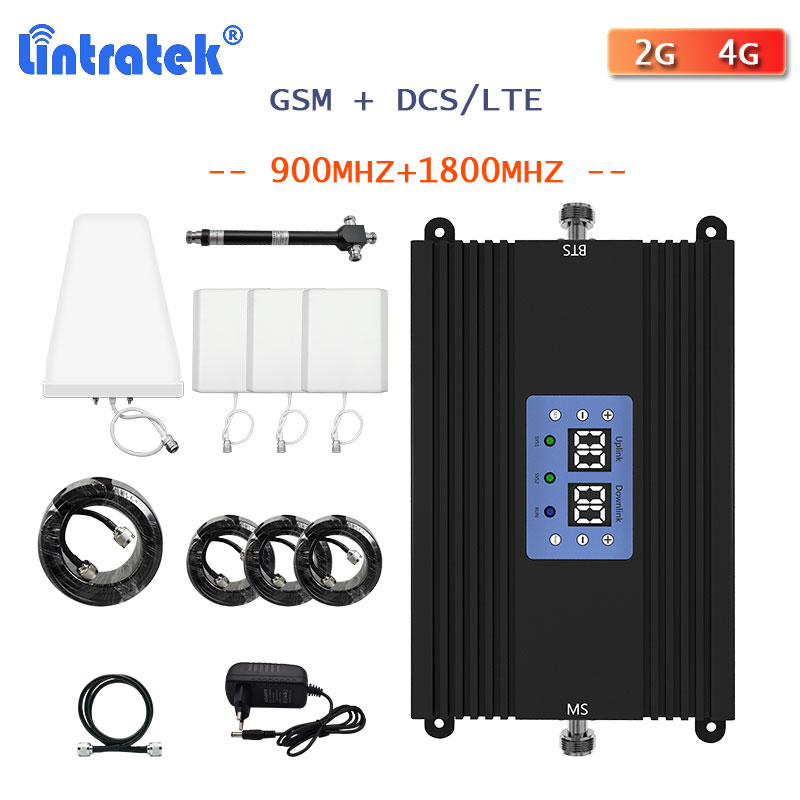 Lintratek LTE 4G Signal Booster GSM 900 1800 DCS Dual Band Signal Repeater Cellular Mobile Phone 2G 4G Internet Voice Amplifier