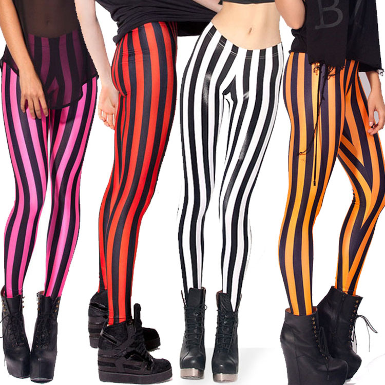 MHIWU Classic Yellow Red Vertical Strip Thin Nine Pants Female Black Mary Red Stripe Panties Women Leggings