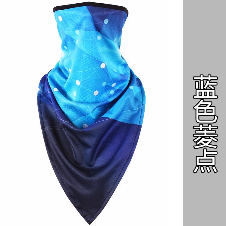 Новое ледяное шелковое треугольное полотенце крутой дышащий платок на голову воротник Мужская и женская маска от Солнца маска ошейник - Цвет: Blue diamond