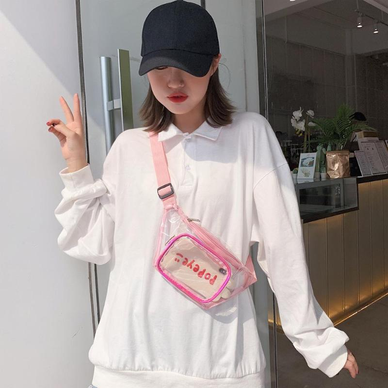 Clear PVC Waist Bags Women Girls Zipper Phone Pouch Chest Belt Fanny Packs