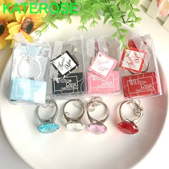 50PCS With This Ring Engagement Ring Keychain Wedding Favors Bridal Shower Events Souvenirs Party Keepsakes