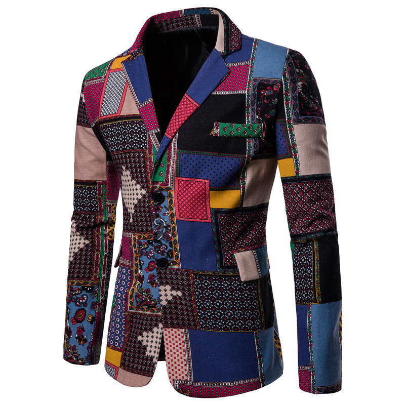 Large Size Casual Joint Pattern Printed Two-Button Ethnic-Style Suit Coat Ouma