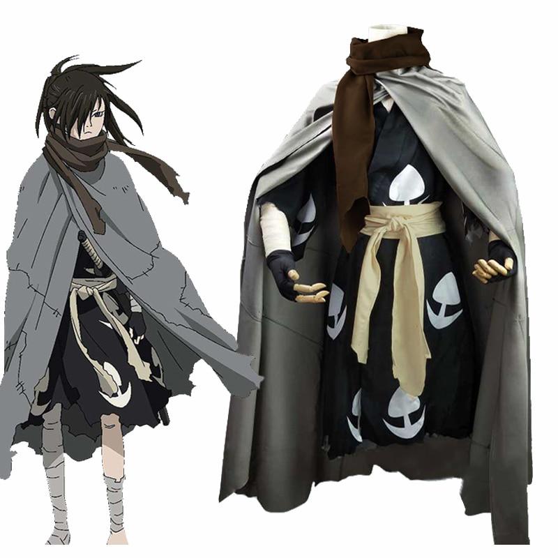 2019 New Fashion Anime Dororo Cosplay Costume Hyakkimaru Kimono Cosplay Costume Halloween Cloak+Kimono+Scarf Full Set Wigs