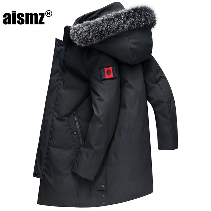 Aismz 2019 Russia Canada Winter Men's Business Casual Thick Warm Hooded 90% White Duck Down Jacket Luxury Quality Long Down Coat