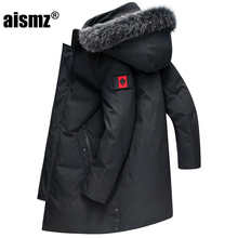 Aismz 2019 Russia Canada Winter Men's Business Casual Thick Warm Hooded 90% White Duck Down