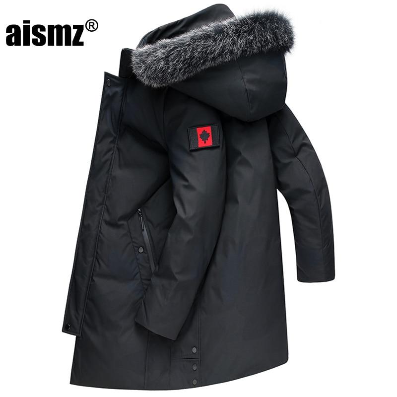 Aismz nova rússia canadá inverno negócios masculinos casual grosso quente com capuz 90% pato branco para baixo jaqueta de luxo qualidade longo casaco