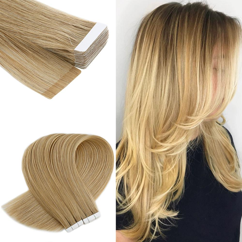 Neitsi Tape In Human Hair Extensions Machine Remy Ombre Tape Natural Seamless Straight Skin Weft Adhesive Hair 12