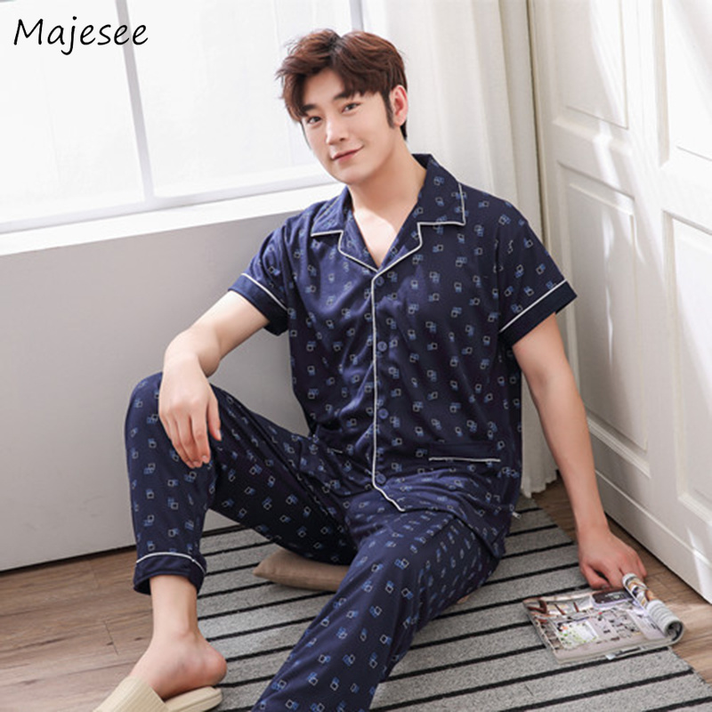 Pajama Sets Men Turn-down Collar Striped Single Breasted Leisure Short Sleeve Pockets Set Mens Large Size Korean Style Clothing