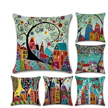New Painting Linen pillow Case Painted Cartoon Countryside Hand-decorated Throw Pillow Cover for Car Room Decor