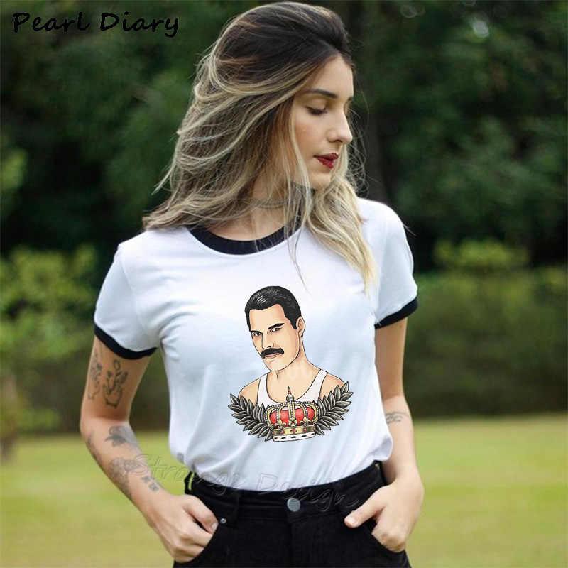 פרדי מרקורי את מלכת להקת חולצה נשים היפ הופ רטרו רוק Hipster T חולצה בציר נקבה מקרית חולצות חמוד מגניב ילדה Tees