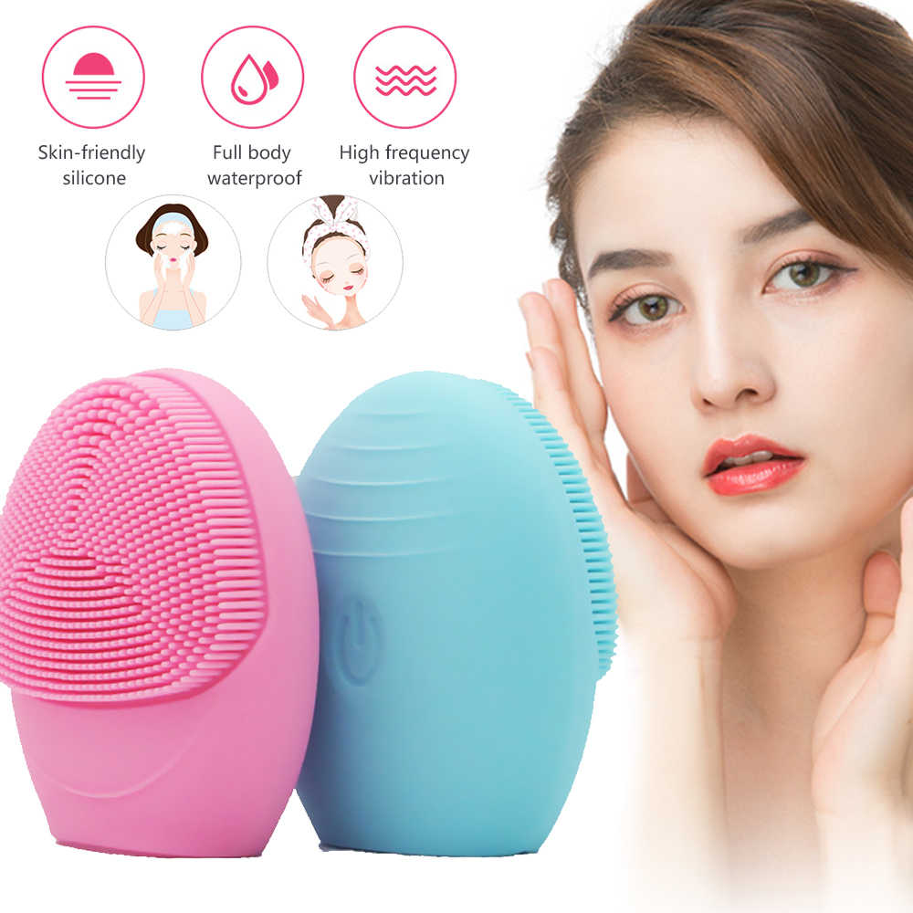 Electric Battrey Facial Cleansing Brush Silicon Vibration Mini Cleaner Deep Pore Cleaning Skin Massage face brush Dropshipping
