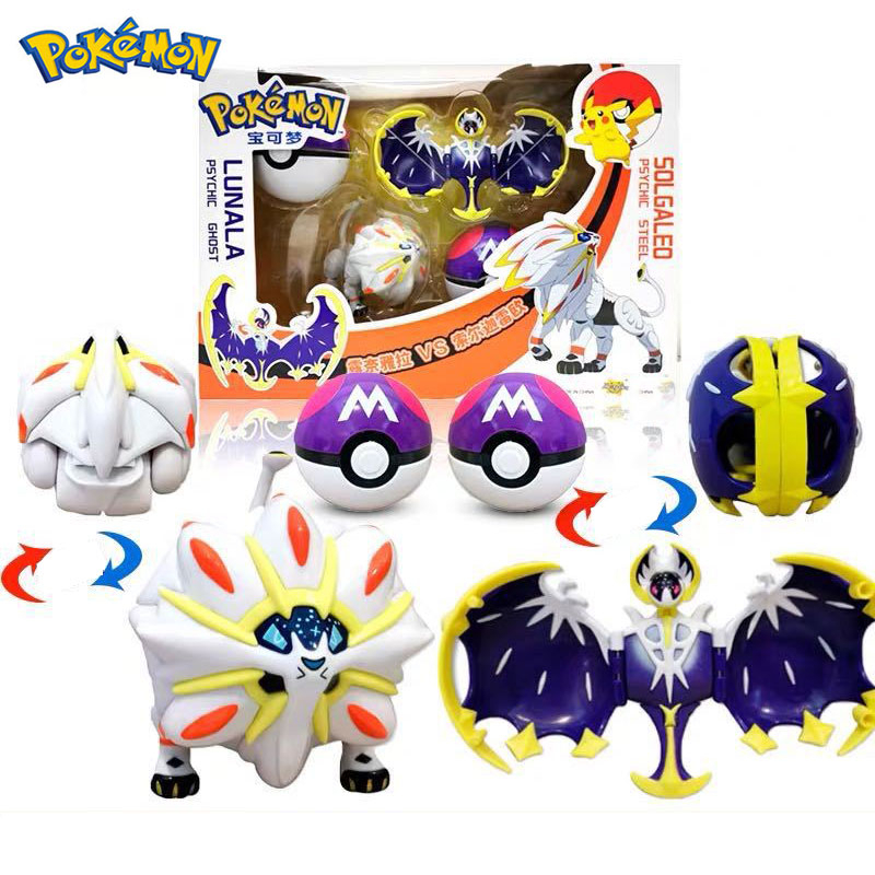 Pokemone Sun Moon Deformation Poke Action Figure Toys Transformation Mewtwo Solgaleo Lunala Model Gift Toys For Childrens 1