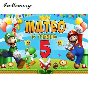 Image 2 - InMemory oyun süper Mario arka planında fotoğraf özel mutlu doğum günü bebek parti fotoğraf stüdyosu arka plan kaliteli vinil