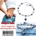 Изысканный любовь Форма Вес потери браслет 925 чистого серебра браслет из голубых кристаллов магнетической терапией для сжигания жира, ювел...
