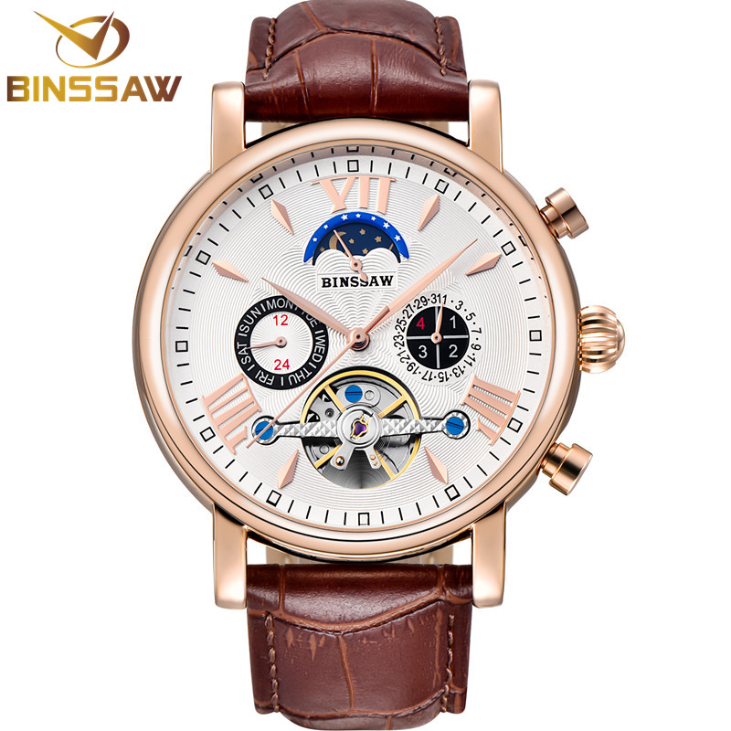 Men Tourbillon Automatic Mechanical Watch Luxury Brand Stainless Steel Waterproof Sports Leather Watches Self-Wind Wristwatch