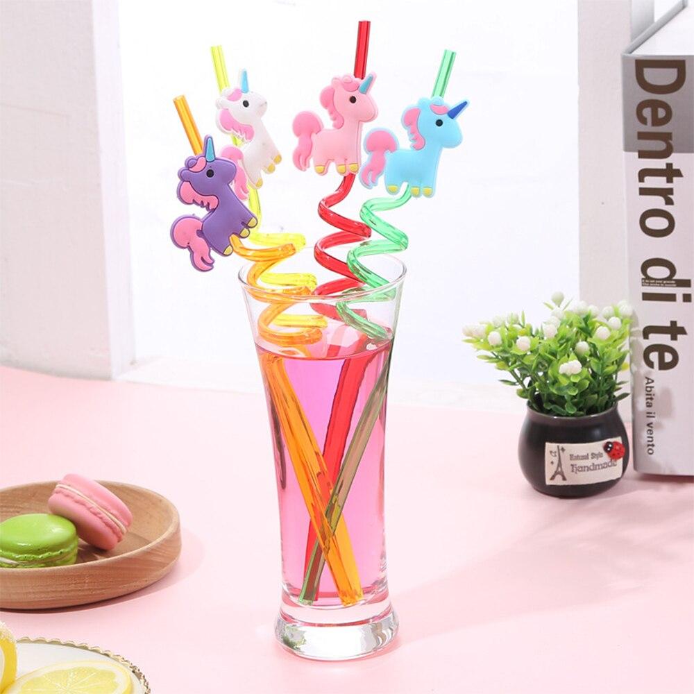 4 шт./компл. детские пластиковые соломинки с мультяшным единорогом в форме милого Фламинго русалки соломинки для напитков праздничные декор...