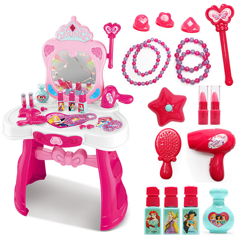 Original Disney Children's Dressing Table Toy Set Girl Cosmetic Make Up Box Girl Family Toy 3-6 Years Old DS728