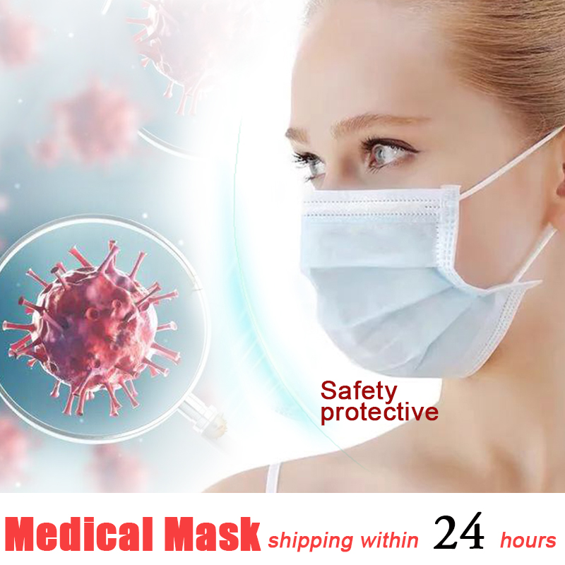 Disposable Medical Masks Anti Influenza Bacterial Facial Dust-Proof Safety Masks Nonwove Prevent Anti Flus 3 Layers Filter Mask