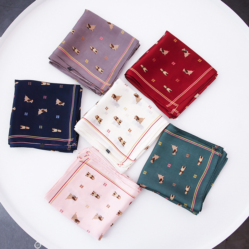 New Green Cartoon Dog Pattern 70CM Small Kerchief Woman Scarf Skill Scarves Fashion Brand Matagorda Ring Neckerchief Accessory