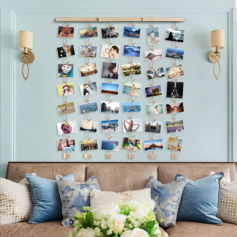 Nordic Style Decoration Craft Home Accessories Wooden Photo Frame With Photo Clips Household Unique Photo Frame Wall Hanging