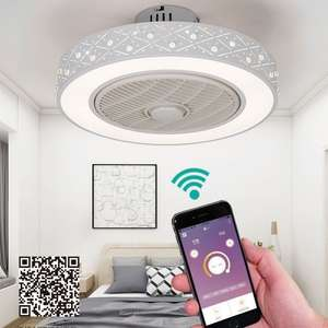 Ceiling-Fan Remote-Control Home-Lighting Invisible-Fans Light-Suppot LED Smart with Mobile-Phone-App