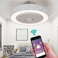 50cm LED smart remote control ceiling fan with light suppot mobile phone app invisible fans home lighting circular round