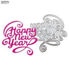 Счастливый год металлические Вырубные штампы Трафаретный Скрапбукинг DIY штамп для альбомов тиснение