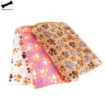 Dog Bed Mats Soft Paw Foot Print Warm Pet Blanket Sleeping Beds Cover Heated Mat For Small Medium Dogs Cats Cute Carpet(China)