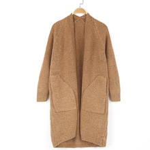 Thickened sweater jacket women's wear autumn and winter long loose pocket mixed color women's knitted cardigan women long sweater cardigan 2017 female autumn korean loose hooded coarse wool coat jacket pocket thickened knitted outwear 1kg
