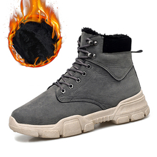 DEKABR Winter New Men PU Leather Ankle Snow Boots Motorcycle Warm Fur Plush Men Boots Fashion Desert Boots Male Casual Booties