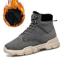 Dekabr inverno novos homens couro do plutônio tornozelo botas de neve motocicleta quente pele de pelúcia botas de moda botas de deserto masculino botas casuais