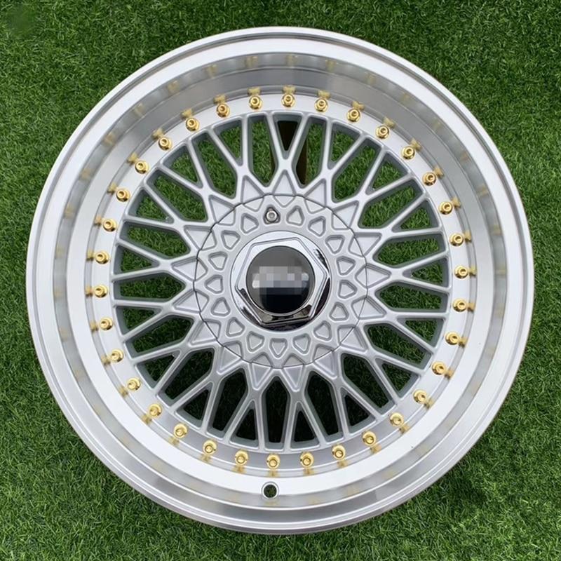Auto voiture alliage roues jantes pneu cerceaux cercle BBS coulée 17 pouces 4X100 5x100 112 114.3 120 argent rs 4 pièces