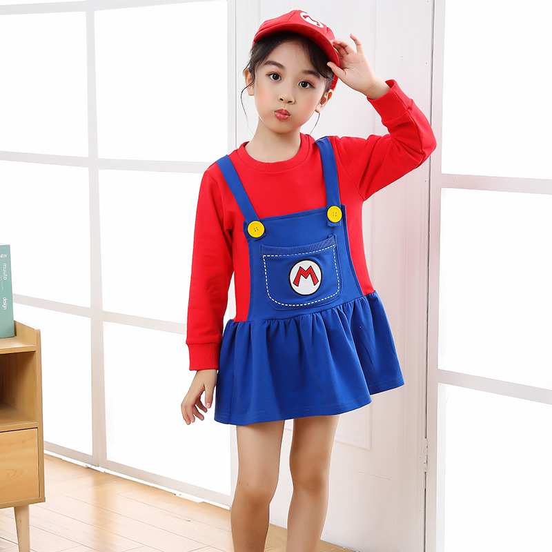 2021 New Year Christmas Clothes Super Marios Children's Bib Dress Luigi Cosplay Costume Anime Family Set Boys Girls Kids Gifts 3