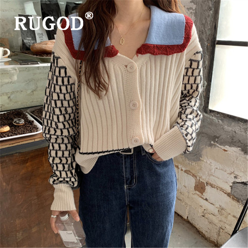 RUGOD 2019 New Winter Sweater Cardigans For Women Turn Down Collar Hollow Out Patchwork Long Sleeve Knitted Coat Fashion Femme