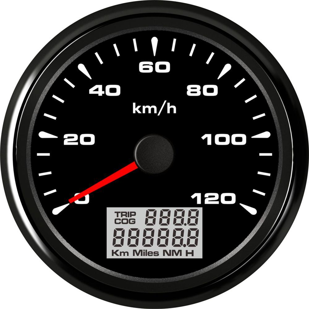 1pc 85mm 0-120km//h GPS Speedometers Odometers Trip Meters with Antenna Black COG