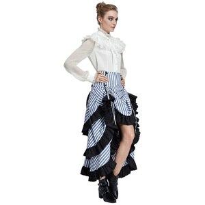 Image 3 - Belle Poque Retro Women Vintage Stripe Gathered Steampunk Gothic Punk Bustle Irregular high low Skirt Fashion midi Skirt Elastic