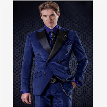 New Men's Suit Smolking Noivo Terno Slim Fit Easculino Evening Suits For Men Dark Blue Pinstripe Double Breasted Business Grooms