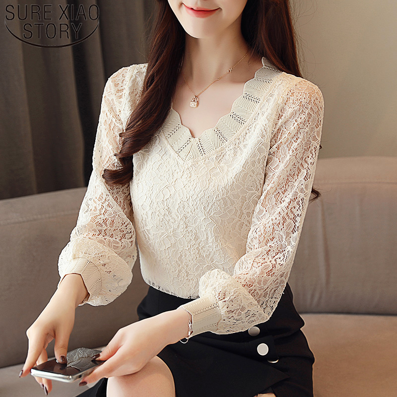 Autumn 2019 New Korean Style Casual Lace Women Blouses Long Sleeve V-neck Women Tops Versatile Elegant Women Clothing 5958 50