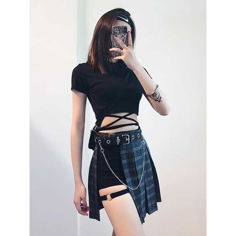 NiceMix Gothic Harajuku Mini Pleated Skirts Womens Without Shorts Hollowed Out Plaid Women 2020 Fashion Summe Clothes Sexy Skirt