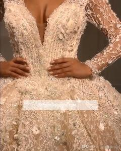 Image 4 - Luxury Beads Ball Gown Wedding Dresses V Neck Sequins Beadings Floral Appliques Long Sleeve Bridal Gown robe de mariee