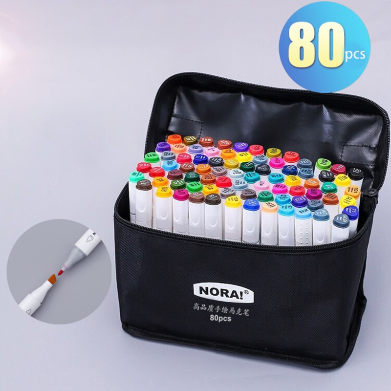 Dual Headed 80 Colors Markers Animation Sketch Pens Drawing Marker Coloring Drawing Pens Professional Art Paint Tool Set Office