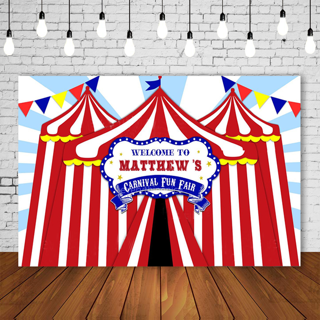 Circus Carnival Personalized Photo Backdrop