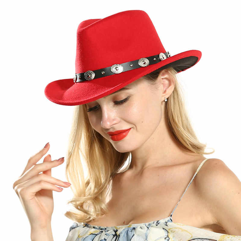 H7560 ผู้หญิงผ้าขนสัตว์ Fedoras หมวกฤดูใบไม้ร่วงฤดูหนาว Ethnic Minority แฟชั่นหมวกสุภาพสตรี Vintage Vintage Church พรรคหมวก
